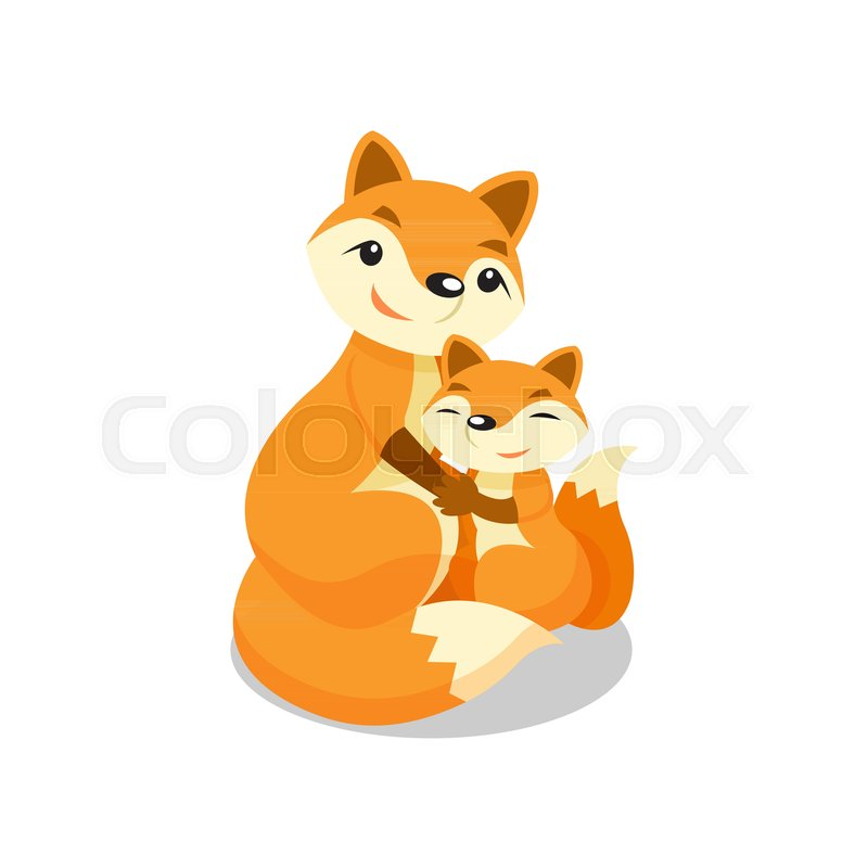 800x800 Mother Fox Hugging Her Baby Fox Vector Illustration Isolated On A