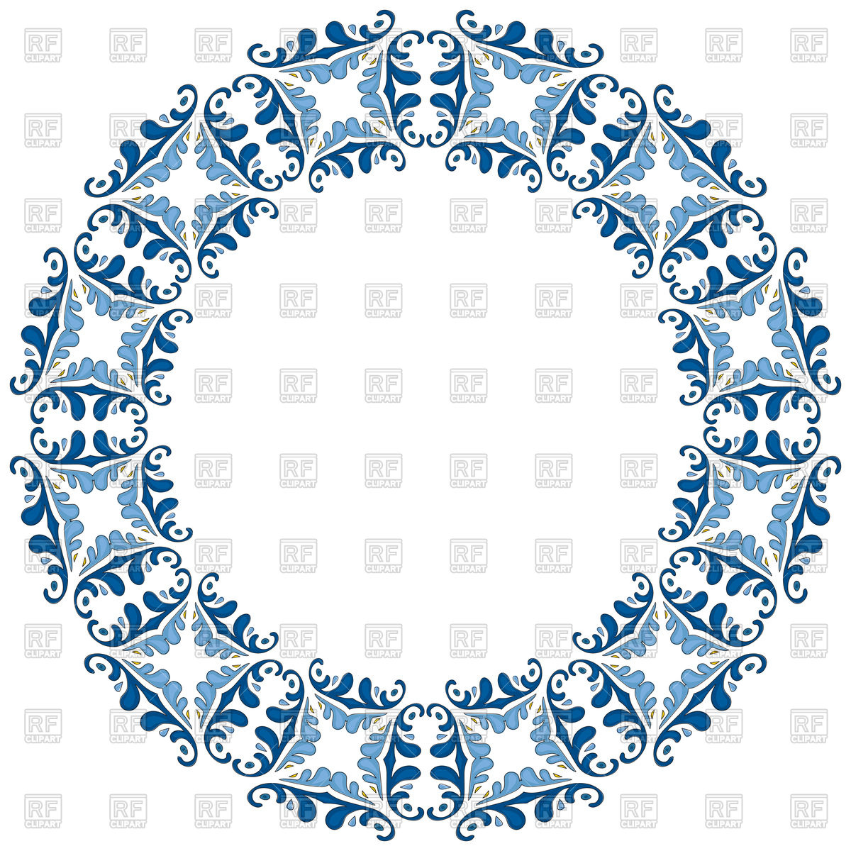 1200x1200 Decorative Circle Frame With Blue Elements, Mandala Circle Border
