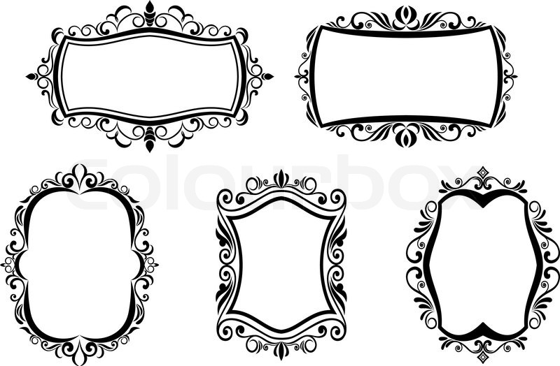 800x524 Antique Vintage Frames Isolated On White For Design Stock Vector