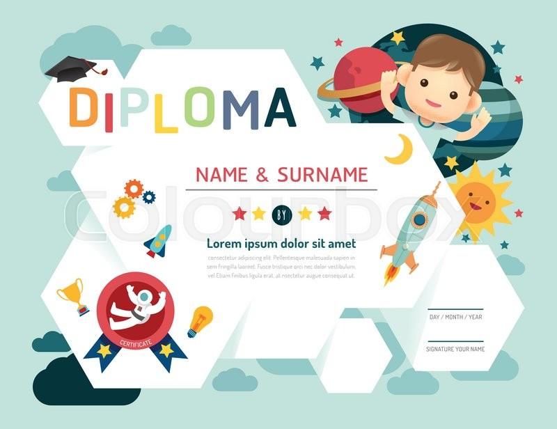 800x616 Certificate Kids Diploma, Kindergarten Template Layout Space