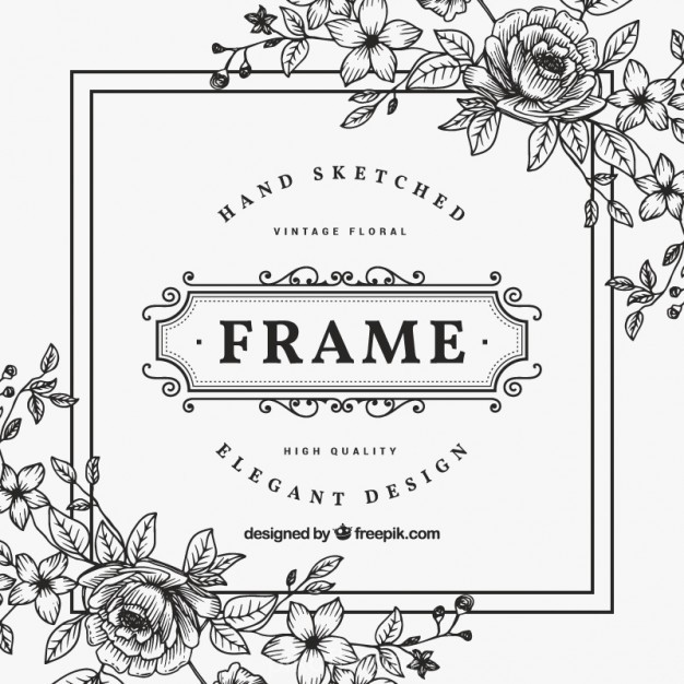 626x626 Ai] Black And White Vintage Flower Frame Vector Free Download