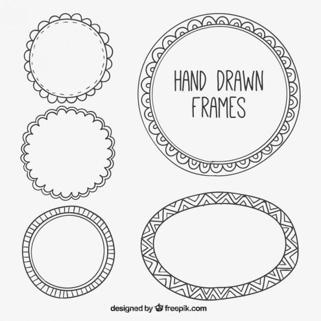626x626 Ai] Set Of Decorative Hand Drawn Frames Vector Free Download