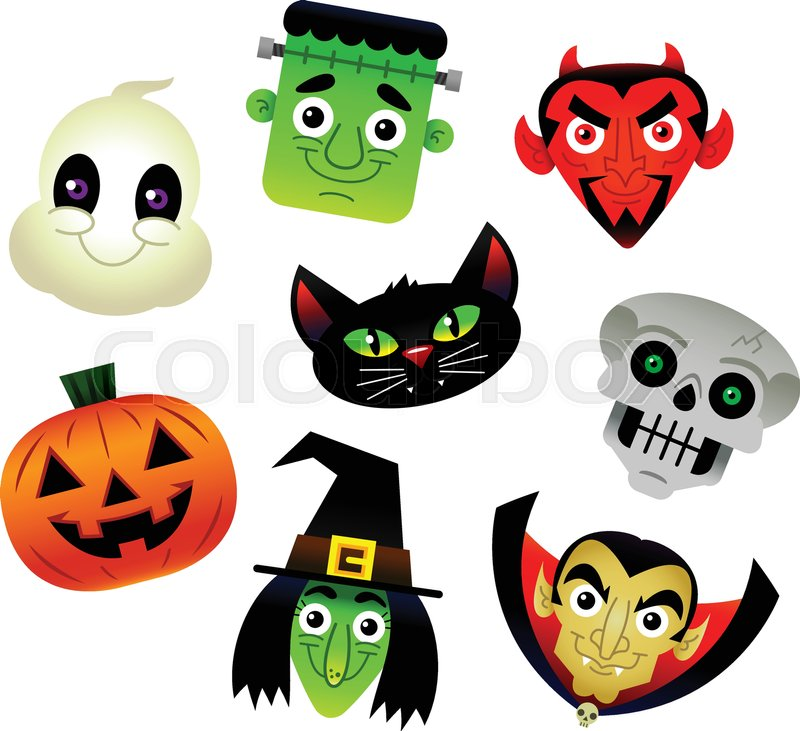800x731 Set Of Vector Cartoon Halloween Characters White Ghost