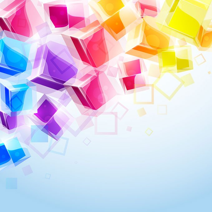 680x681 Free Abstract Amp Colorful 3d Cubes Vector Background (Free) Psd