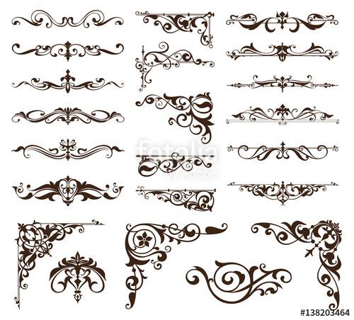 500x452 Art Deco Design Elements Of Vintage Ornaments And Borders Corners
