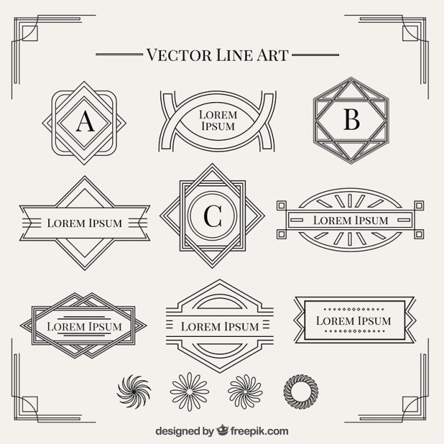626x626 Shapes In Art Deco Style Collection Vector Free Download
