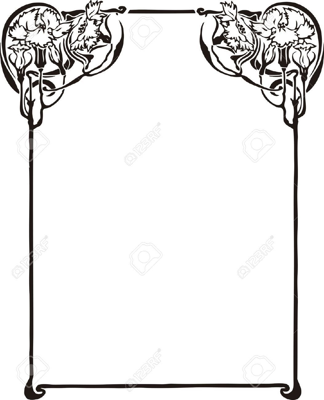 1054x1300 Art Nouveau Border Stock Illustrations, Cliparts And Royalty Free