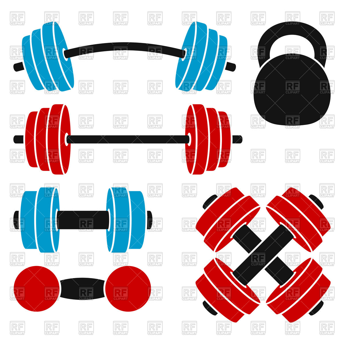 1200x1200 Set Of Athletic Weights Kettlebell, Dumbbell, Barbell Vector