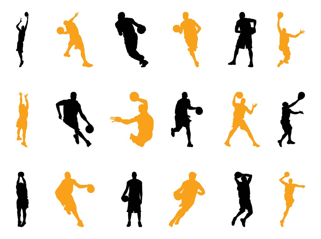 1024x765 Basketball Players Silhouettes Pack Vector Art Amp Graphics
