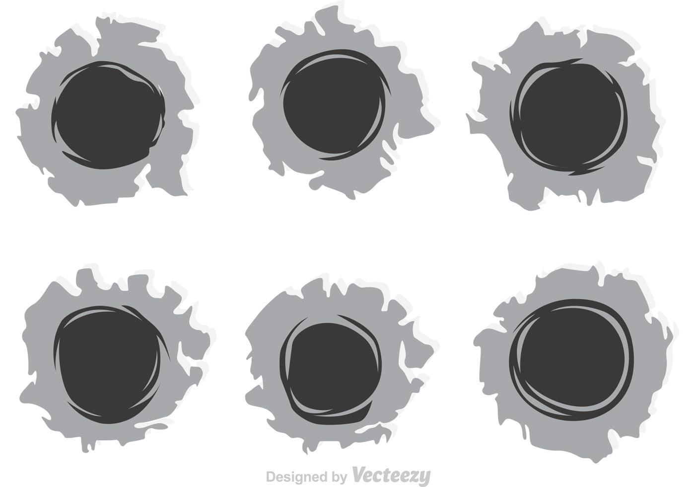 1400x980 Bullet Holes Paper Free Vector Art