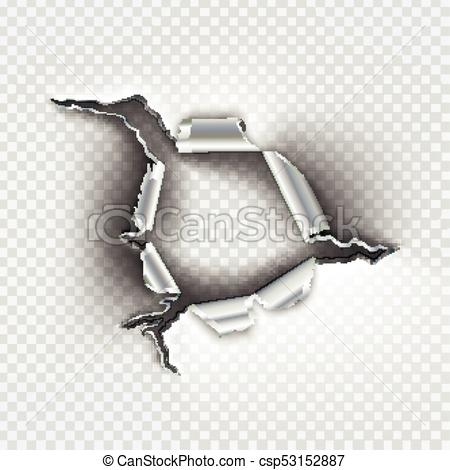 450x470 Ragged Bullet Hole Torn In Ripped Metal On Transparent Background.