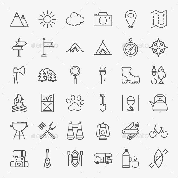 590x590 Camping Vector Line Icons By Anna Leni Vector Adventure Icons Over