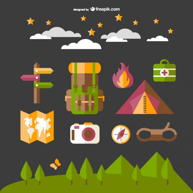 626x626 Camping Elements Set With Map, Fire And Tent Vector Free Download