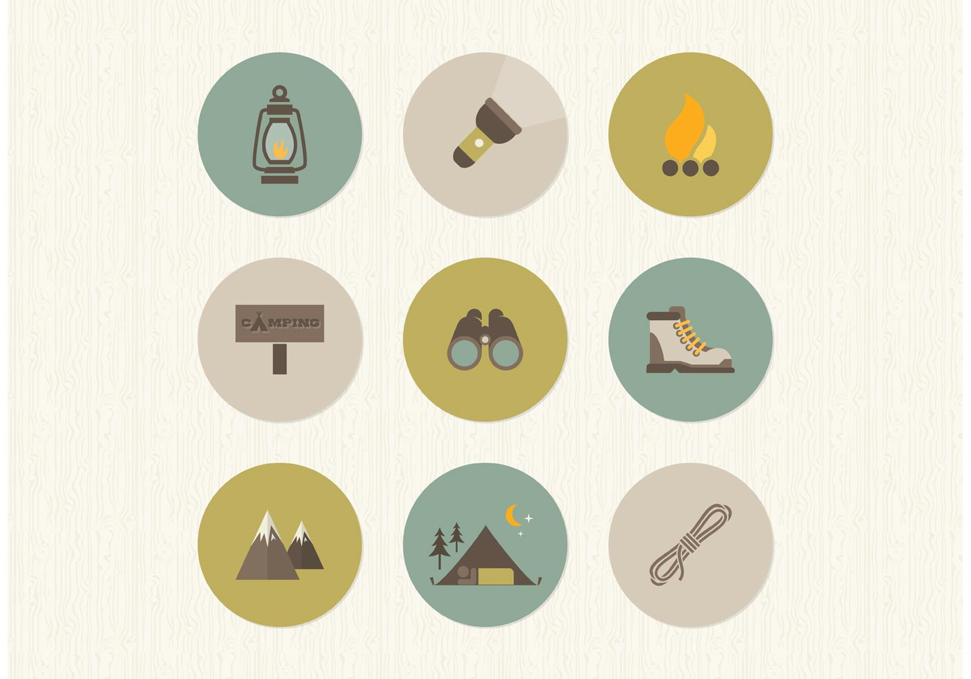 1400x980 Free Flat Camping Vector Icons
