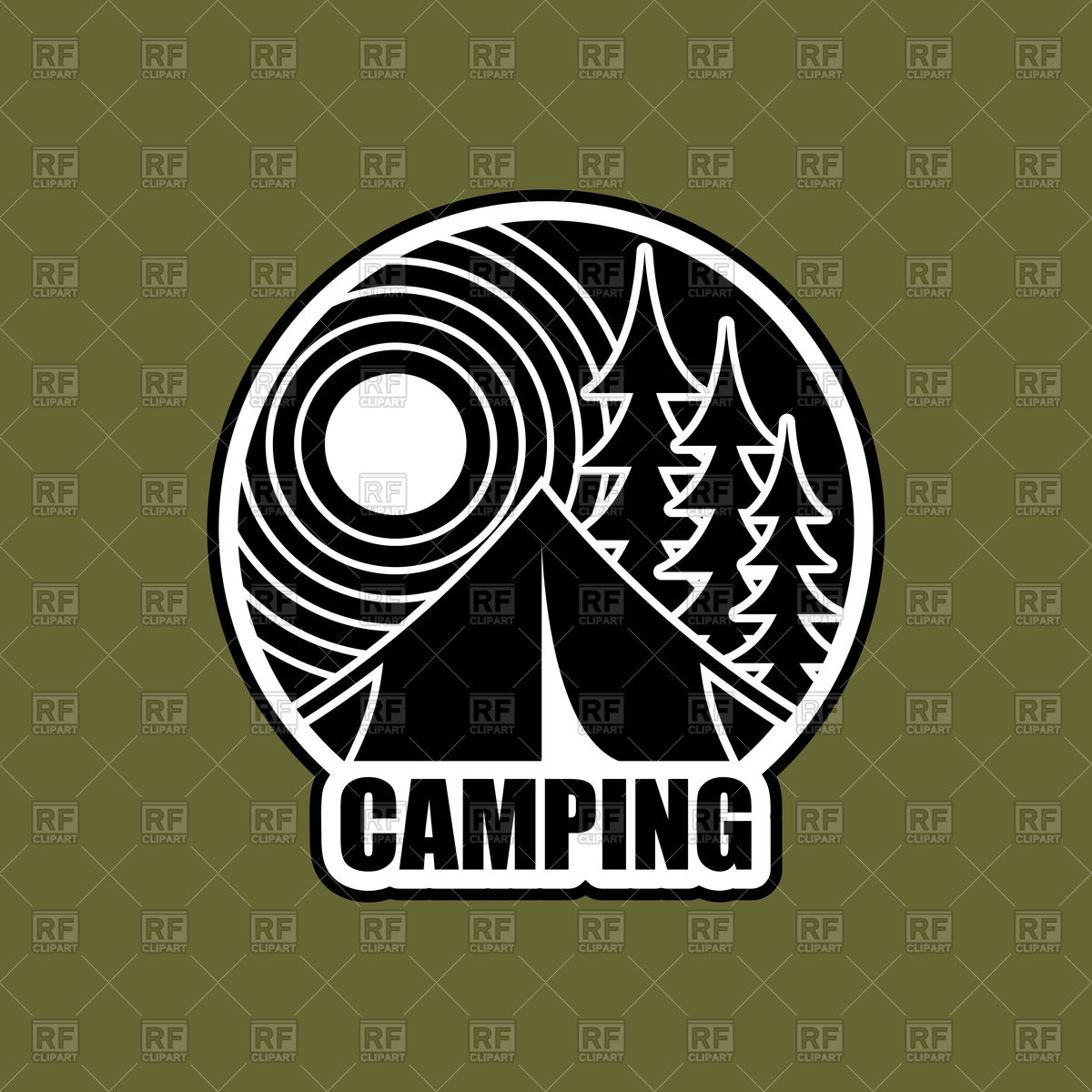 1200x1200 Logo Of Camping, Emblem For Accommodation Camp Vector Image