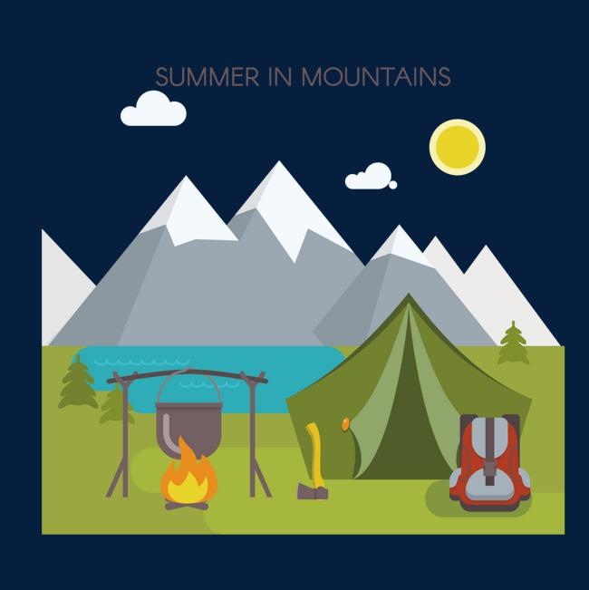 650x651 Vector Snow Mountain Camping, Snow Vector, Mountain Vector