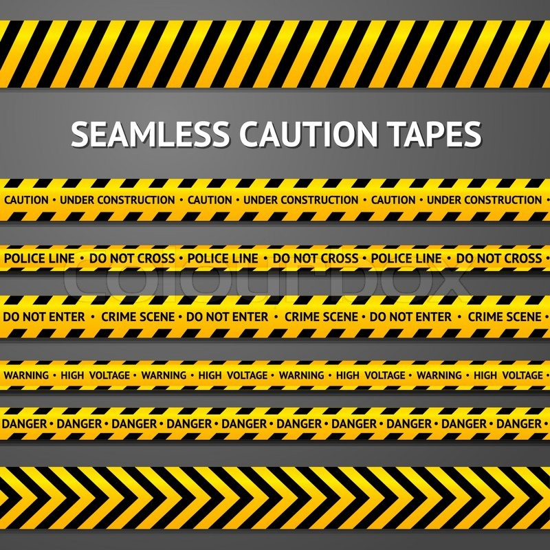 800x800 Set Of Black And Yellow Seamless Caution Tapes With Different