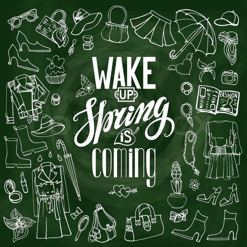 800x800 Spring Fashion With Lettering Wake Up,spring Is Coming.vector Hand