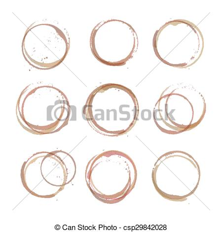 450x470 Coffee Stain Circles. Vector Set Of Coffee Stain Circles, Splashes