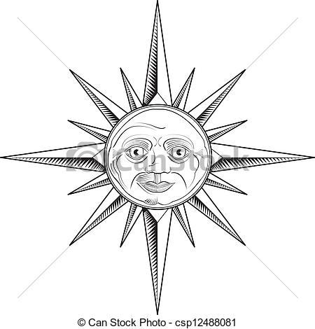 450x470 Vector Sun Compass Rose. A Sun Faced Compass Rose.