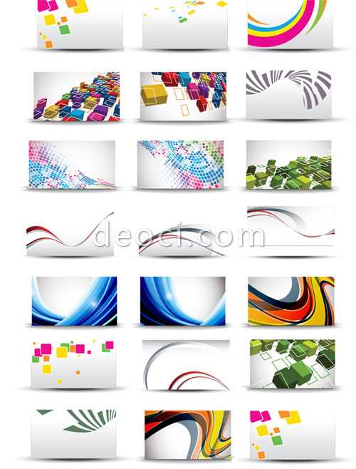 500x658 21 Vector Business Card Background Design Template Colorful Style
