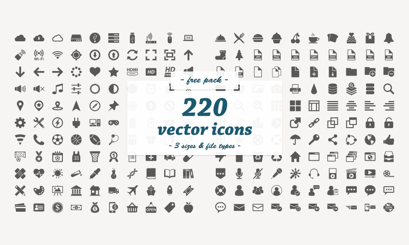 800x480 Free Download 220 Flat Vector Icons