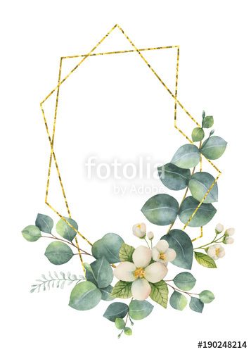 357x500 Watercolor Vector Composition From The Branches Of Eucalyptus And