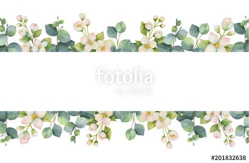 500x328 Watercolor Vector Wreath With Green Eucalyptus Leaves, Jasmine