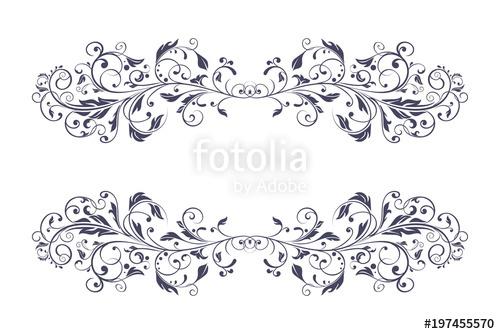 500x334 Filigree Dividers. Floral Vintage Decorative Ornaments Stock
