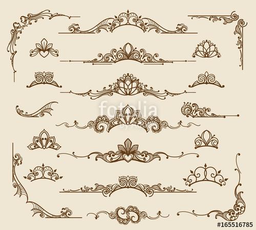 500x450 Royal Victorian Filigree Design Elements. Vector Retro Queen