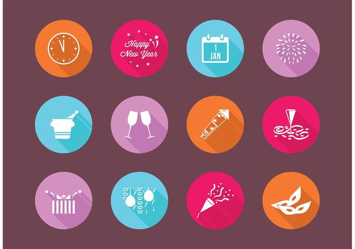 700x490 Flat New Years Eve Vector Icons