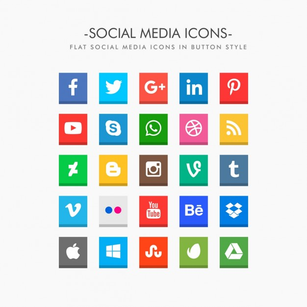 626x626 Flat Social Media Icons Pack Vector Free Download