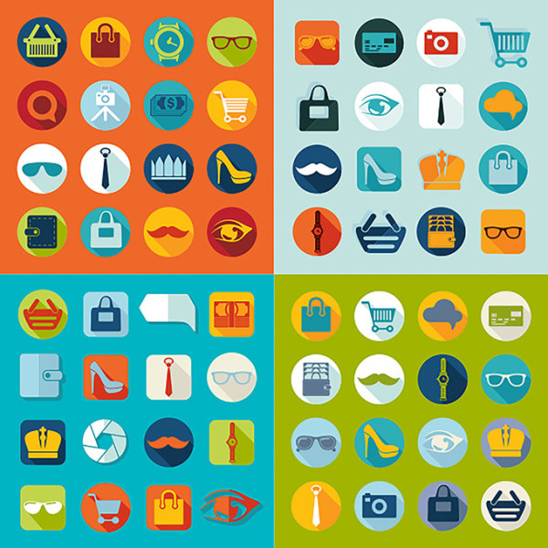 600x600 Flat Supermarket Shopping Icons Vectors Free Download