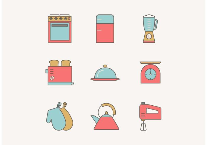 700x490 Free Flat Outline Vintage Kitchen Utensils Vector Icons