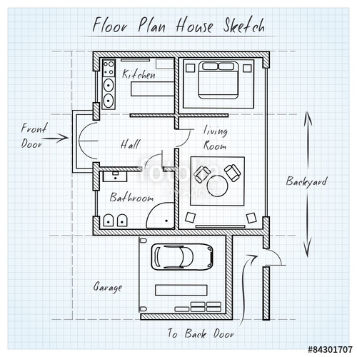 500x500 Floor Plan House Sketch Stock Image And Royalty Free Vector Files