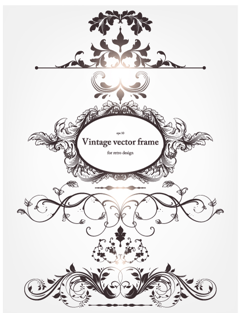 500x643 Europeanstyle Floral Border And Decorations 03 Vector Free Vector