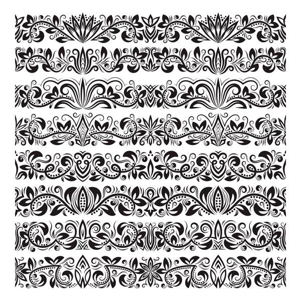 600x600 Floral Seamless Border Design Vector Set 04 Free Download