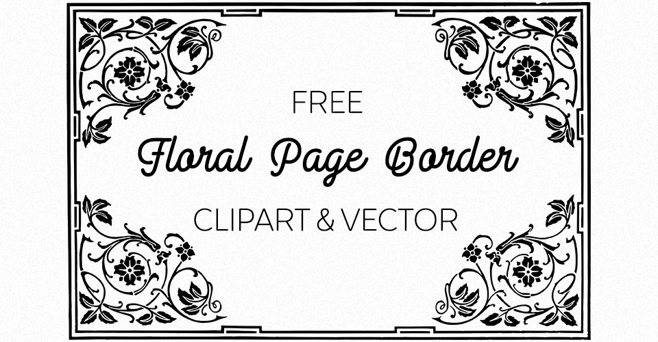 960x500 Free Floral Vector Frame Border Oh So Nifty Vintage Graphics