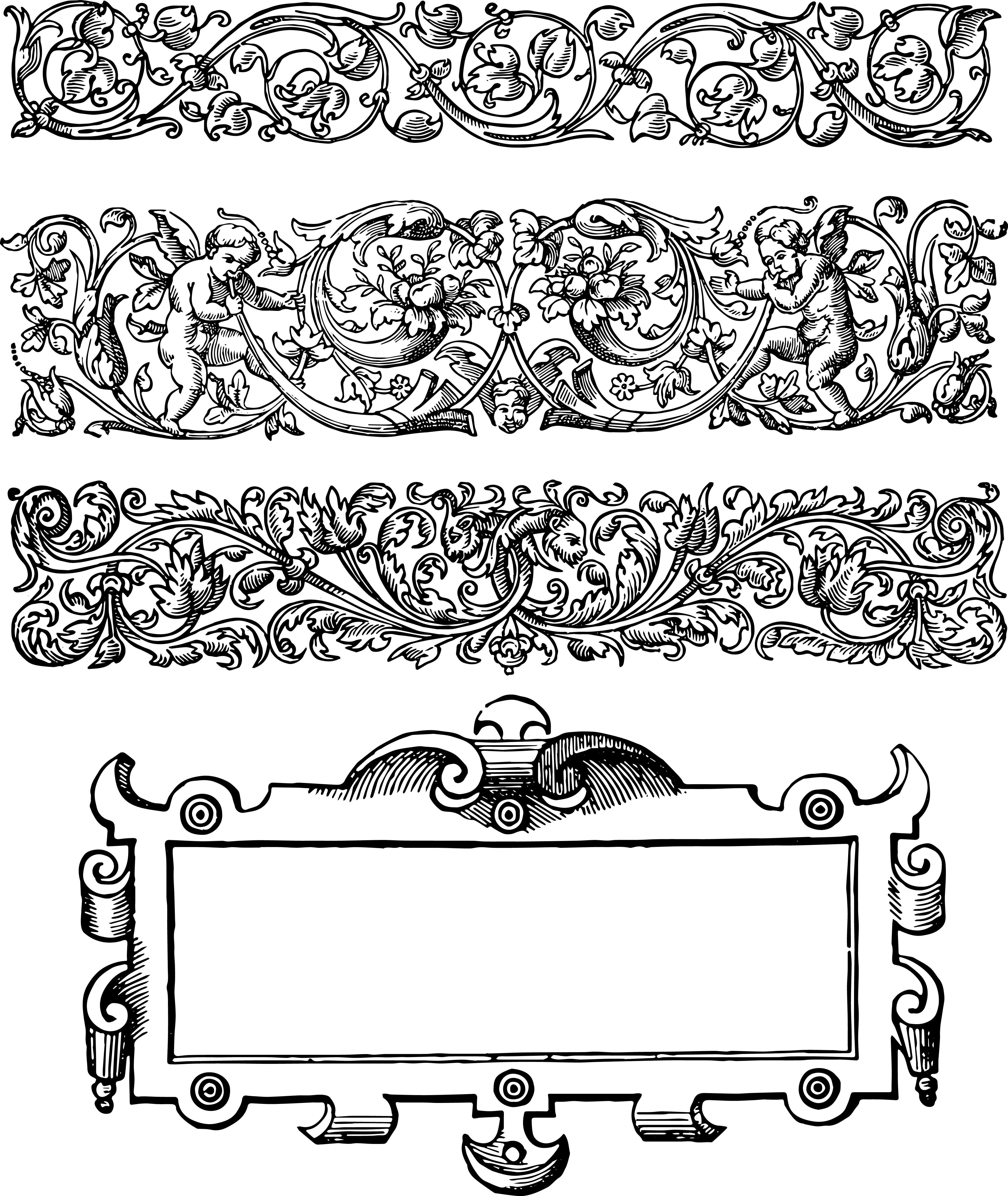 4105x4871 Gorgeous Floral Vector Art Borders Oh So Nifty Vintage Graphics