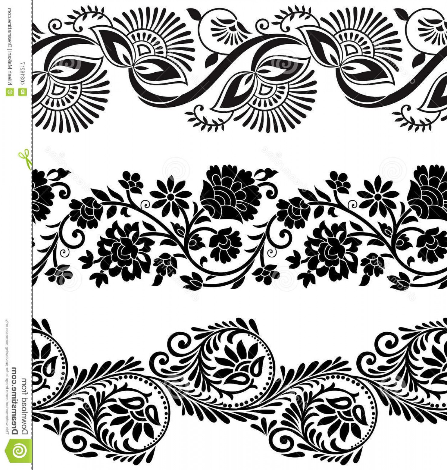 1484x1560 Royalty Free Stock Photography Floral Vector Borders Seamless