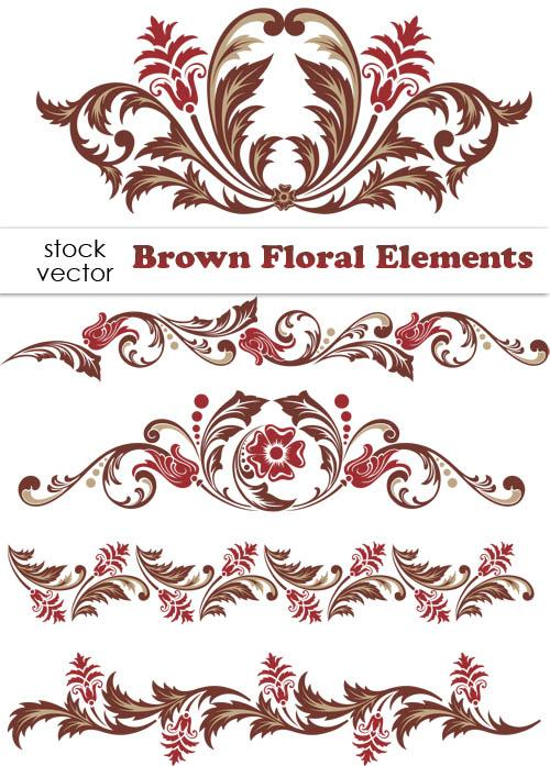 500x697 Brown Floral Design Elements Vector Borders Free Download