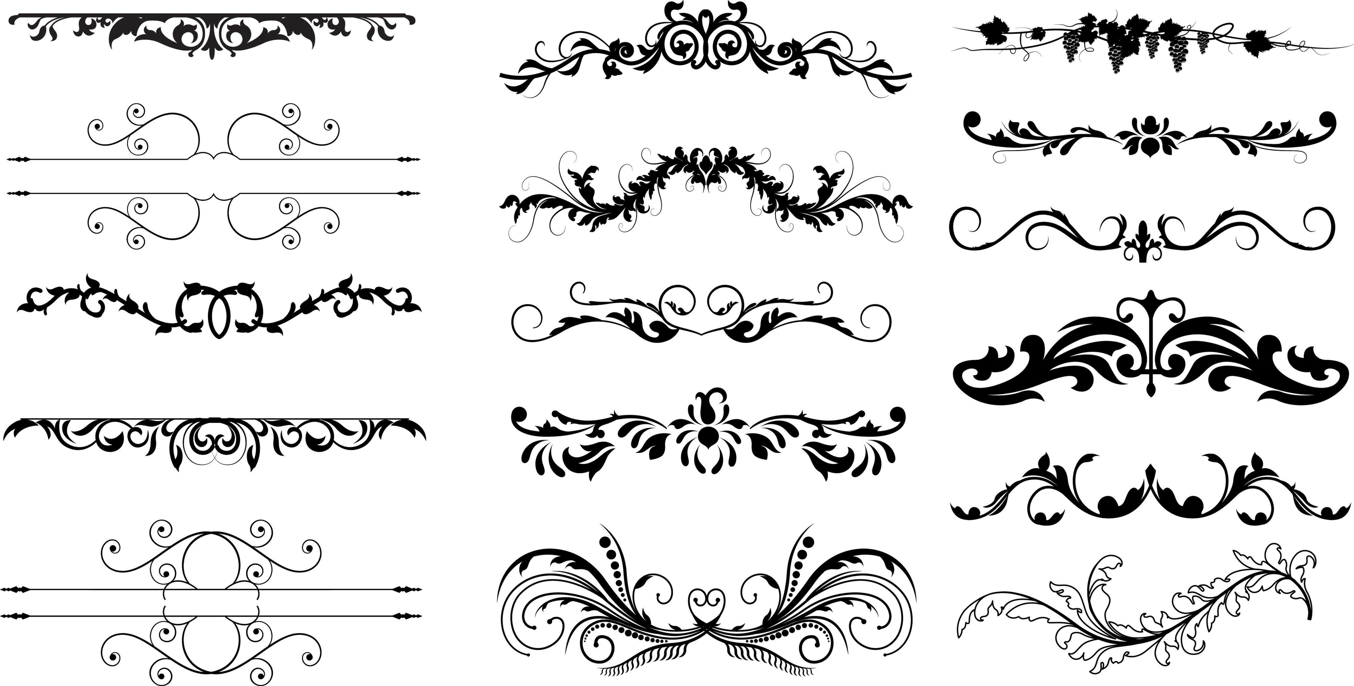 4535x2300 Dividers Free Ornament Floral Vector Dividers Photoshop Graphics