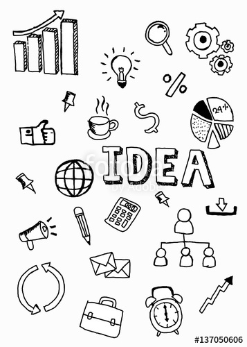 357x500 Business Doodle Icon With Idea Word, Illustrator Vector Design