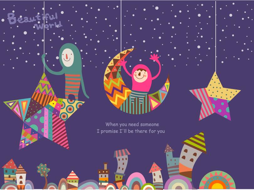 810x605 Cartoon Moonlight Illustrator Vector Free Vector Graphic Download