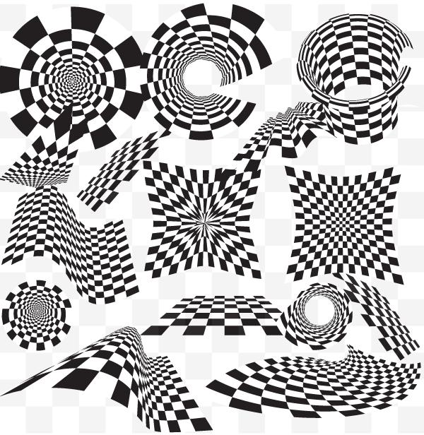 600x616 Checkered Vector Design Elements Illustrator Vector Pack
