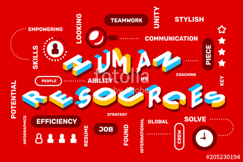 500x334 Human Resources Concept On Red Color Background With Icon, Keyword