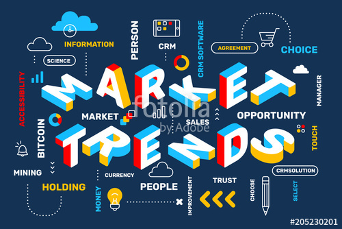 500x334 Market Trends Concept On Dark Color Background With Icon, Keyword