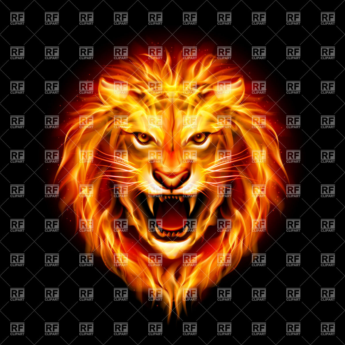 1200x1200 Head Of Aggressive Fiery Lion Vector Image Vector Artwork Of