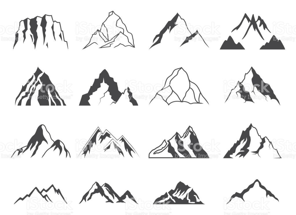 1024x745 Set Of Sixteen Vector Mountain Shapes For Icons. Camping Mountain