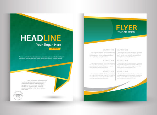 600x440 Flyer Template Design With Green And White Color Free Vector In